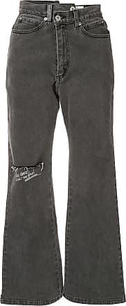 Ground-Zero Calça jeans flare assimétrica com estampa - Cinza