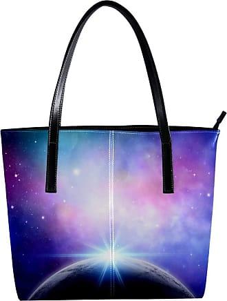 Nananma Womens Bag Shoulder Tote handbag with Planet with Light Print Zipper Purse PU Leather Top-handle Zip Bags