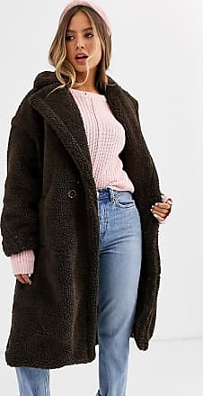 Qed London Cappotto oversize in pile borg-Marrone