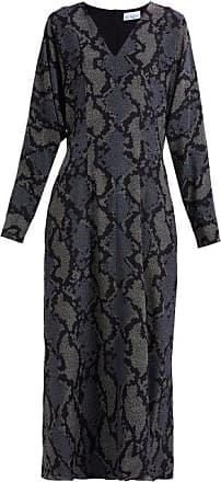 Raey Batwing Geo-snake Print Silk Dress - Womens - Navy Print