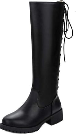 RAZAMAZA Women Fashion Mid Heels Knee Boots Round Toe Office Tall Boots Zipper Autumn High Boots Black Size 33 Asian