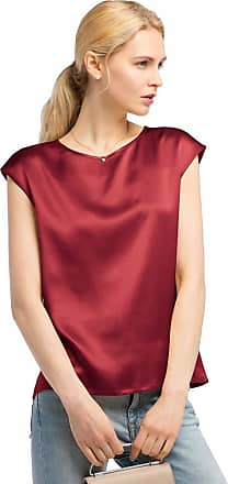 LilySilk Basic Cap Sleeves 22MM Silk T Shirt Relaxed Fit Round Neck Shirt for Ladies (M/12, Claret)