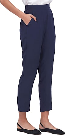 LilySilk Ladies Comfort Fit Silk Pipe Pant Pure Real Silk Soft Breathable Cool Trousers for Summer Navy Blue XL