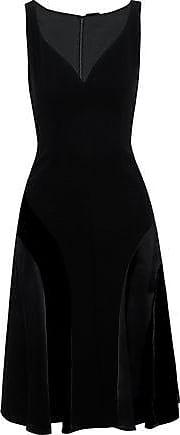 Elie Tahari Elie Tahari Woman Zaria Crepe, Satin And Velvet Dress Black Size 12
