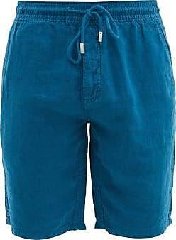 Vilebrequin Drawstring-waist Linen-poplin Bermuda Shorts - Mens - Navy