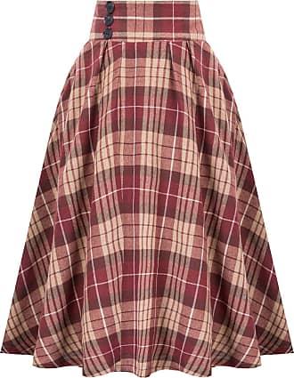 Belle Poque Vintage Ladies 1950s A-Line Grid Pattern Plaid Swing Skirts Side Buttons Floral-2 20 Large