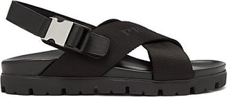 Prada Logo-jacquard Buckled Canvas And Leather Sandals - Mens - Black