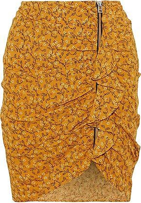 Veronica Beard Veronica Beard Woman Spencer Ruched Floral-print Crepe De Chine Mini Skirt Saffron Size 12