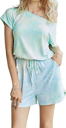 QIYUN.Z Sexy Round Neck Short Sleeve Drawstring Waist Jumpsuit Romper Green XL
