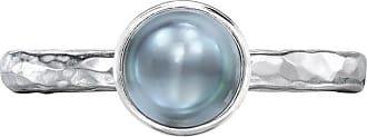 Dower & Hall 6mm Dove Grey Pearl Hammered Twinkle Ring