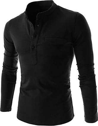 YYW Mens Casual Long Sleeve Shirt Cotton Button Down T Shirts Slim Fit Grandad Top Plain Tee Henley Shirt (Navy Blue,XXL)