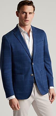 Hackett Mens Cotton Jersey Windowpane Check Blazer | Size 42Regular | Blue