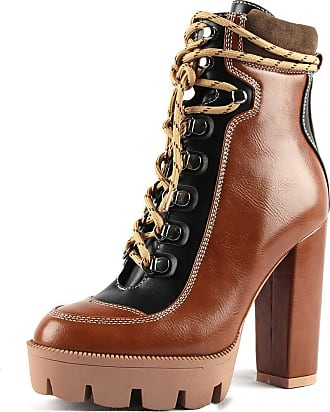 Vimisaoi Womens High Chunky Heels Lace Up Zipper Platform Ankle Booties Autumn Winter Combat Boots