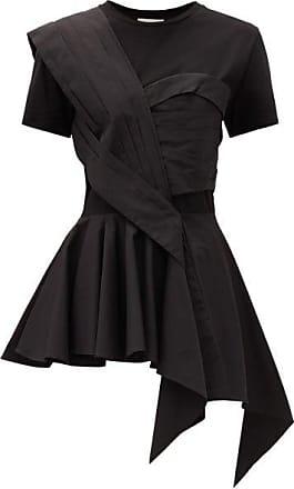 Alexander McQueen Alexander Mcqueen - Peplum Bodice-overlay Cotton T-shirt - Womens - Black