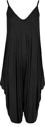 Top Fashion18 Ladies Baggy Cami Strappy Lagenlook Harem Playsuit Jumpsuit Dress TopSize 8-26 Black
