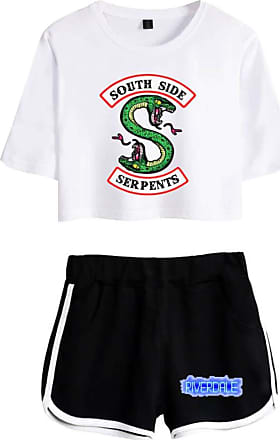 OLIPHEE Women Casual Tracksuits 2pc Tops and Shorts Pyjama Sets Riverdale Summer T-Shirt Striped Sport Wear Printed with South Side Serpent 5760 White Black X