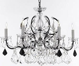 Gallery T22-2770 6 Light 26 Wide Crystal Chandelier Black Indoor