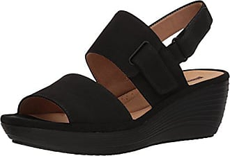 Clarks Womens Reedly Breen Wedge Sandal, Black Nubuck, 12 Medium US