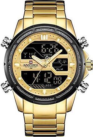 NAVIFORCE Relógio de Quartz à Prova dàgua com calendário e display NAVIFORCE-9138S - Dourado - 60