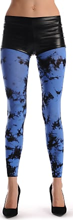 Liss Kiss Black & Blue Colour Splash (Tie Dye) Footless - Blue Printed Designer Opaque Tights Footless
