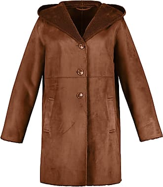 Ulla Popken Womens Plus Size Leather Look Fur Lined Coat Brown 24/26 718535 31-50+