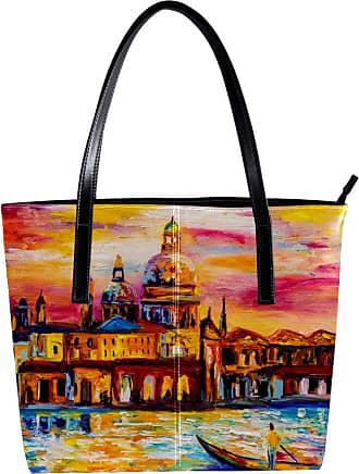 Nananma Womens Bag Shoulder Tote handbag with Oil Painting Water City Venice Print Zipper Purse PU Leather Top-handle Zip Bags