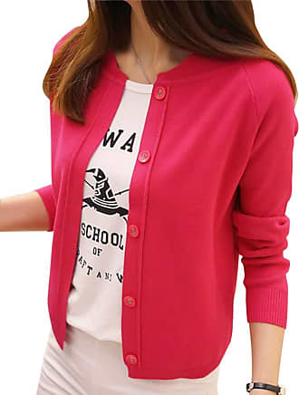 Yonglan Womens Short Fine Knit Cardigan Coat Round Neck Long Sleeve Button Sweater Tops Rose S