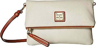 Dooney & Bourke Pebble Fold-Over Zip Crossbody (Ecru/Tan Trim) Cross Body Handbags