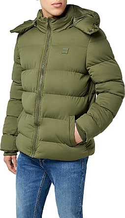 Urban Classics Mens Hooded Boxy Puffer Jacket, Green (Olive 00176), XL