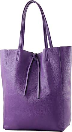modamoda.de ital. Leather bag Ladies bag Shopper bag Large shoulder bag leather T163, Colour:purple
