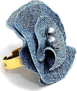 Tinna Jewelry Anel Dourado Jeans (Azul Claro)