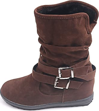 TOMWELL Womens Ladies Cats Eyes Fold Down Leather Look Fur Lined Biker Ankle Boots Black Brown Tan Size 3 4 5 6 7 8 Brown 8 UK