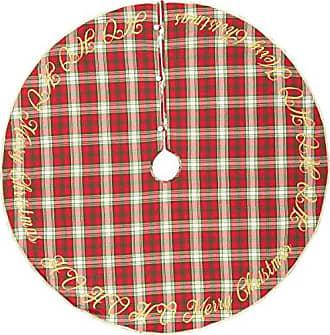 VHC Brands Decor HO Holiday Tree Skirt, 60 Diameter, Red