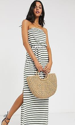 Asos Tall ASOS DESIGN Tall bandeau maxi dress with belt in khaki stripe-Multi