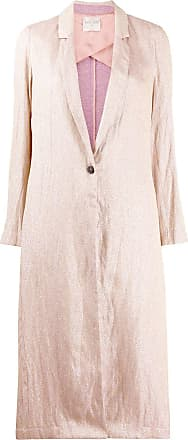 Forte_Forte metallic woven style single-breasted coat - PINK