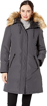 Vince Camuto Womens Thigh Length Heavy Weight Dowm Jacket with Hood Down Coat, Smoke, x-Large