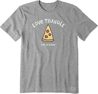 Life is good Mens Love Triangle Pizza Crusher Tee XXXL Heather Gray