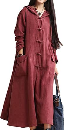 iShine Women Hooded Maxi Coat Plus Size Long Loose Dress Coat Vintage Cotton Linen Baggy Dress with Pockets Wine Red