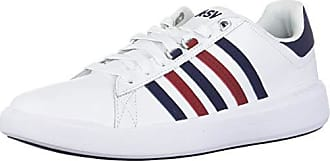 K-Swiss Womens Pershing Court Light CMF Sneaker, White/Evening Blue/red Dahlia, 9.5 M US