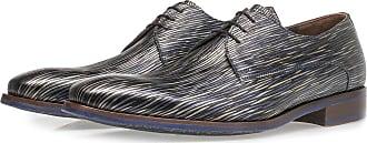 Floris Van Bommel Dunkelblauer Schnürschuh mit gestreiftem Metallic-Print, Business Schuhe, Handgefertigt