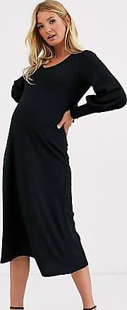 Asos Maternity ASOS DESIGN Maternity long sleeve swing rib bow back midi dress-Black