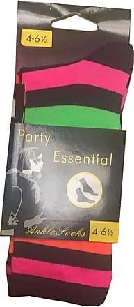 21Fashion Womens Neon Stripe Ankle Socks Ladies Sports Travel Use Rainbow Ankle Socks Black Rainbow 4-6.5 (Pack Of 12)