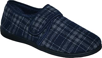 Northwest Territory Diabetic Orthopedic Mens Easy Close Wide-Fitting Touch Close Bar-Strap Shoe Slipper (Navy Norris, Numeric_9)