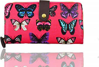 Your Dezire Ladies Girls Butterfly Pattern Large Purse Wallet Card Holder (Fuschia)