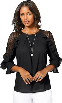 Alessa W. Collection blouse met elegante volant-garnering