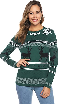 Abollria Womens Christmas Sweater Knit Sweaters Round Neck Pullover