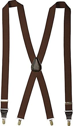 Florsheim Mens Clip On Suspenders with Leather Drop Clip 46 Inch, Brown, One Size