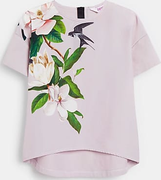 Ted Baker Opal Printed T-shirt in Lilac MYNAME, Womens Clothing
