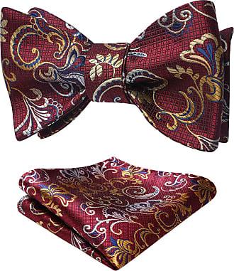 Hisdern Mens Paisley Jacquard Wedding Party Self Bow Tie & Pocket Square Set