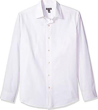Van Heusen Mens Long Sleeve Stripe Sateen Shirt, Bright White, X-Large